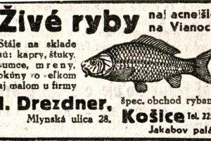 Reklama na predaj vianočných rýb z roku 1937.