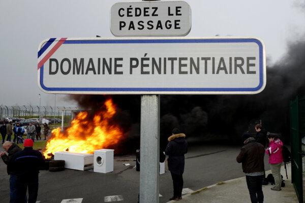 Protest francúzskych dozorcov.