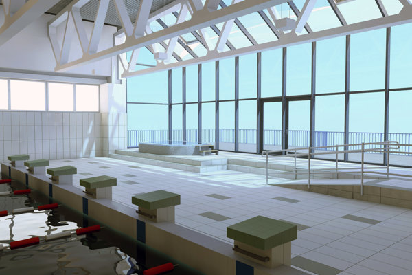Takto bude vyzerať nové presklené vnútro plavárne. Svírivkou aj prístupom pre imobilných. (zdroj: Bardterm)