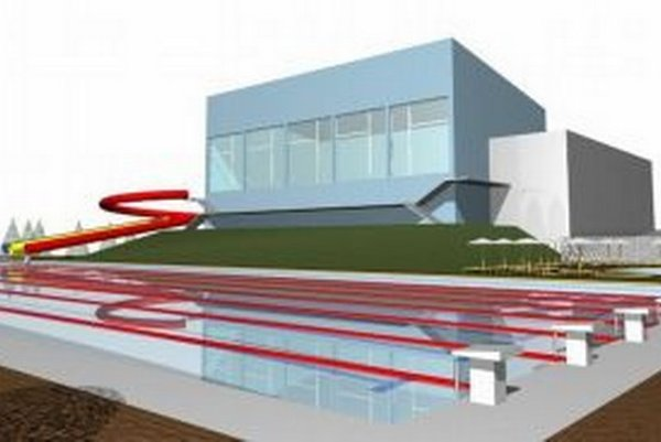 Radnica v projekte rekonštrukcie súčasnej plavárne zužitkovala aj priľahlý pozemok veľký vyše 5-tisíc metrov štvorcových.VIZUALIZÁCIA: MsÚ ZVOLEN