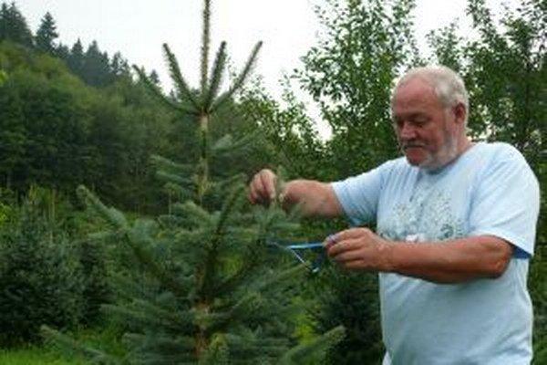 Štefan Kontšek pri označenom stromčeku.