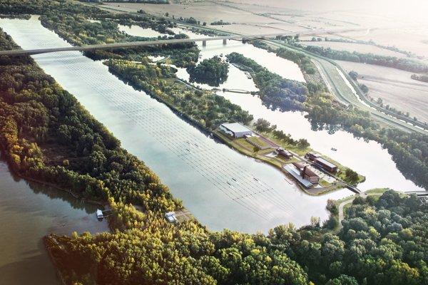 Vizualizácia Zemníka po dokončení obchvatu D4. Jarovské rameno amedzi Bratislavčanmi obľúbená hrádza sú vpravo, hlavný tok Dunaja vľavo.