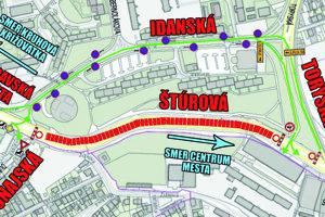 Dopravné obmedzenia. Dočasne došlo k jednej zmene oproti tejto mape – zatiaľ bude ponechaný jeden jazdný pruh pre osobné autá od kruhovej križovatky Moldavská do centra mesta.