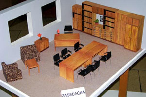 Návrh zasadacej miestnosti.