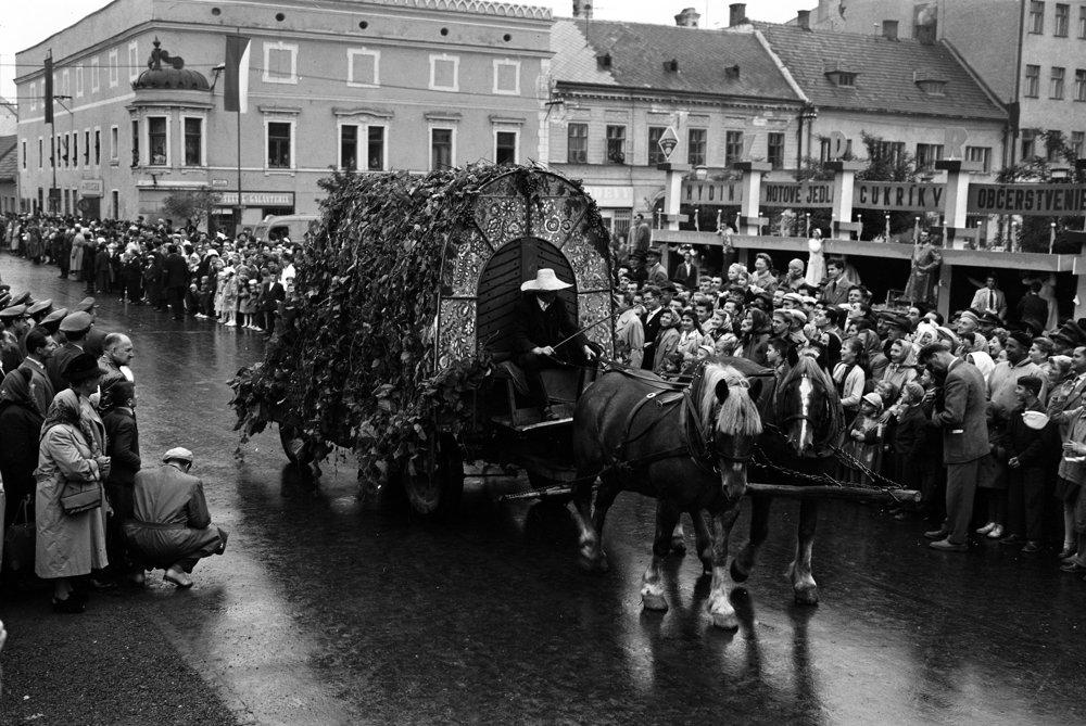 V Pezinku, metropole nášho najväčšieho vidieckeho okresu, 27.septembra 1959 oslávili vinobranie spolu s 10.výročím založenia JRD. Na snímke alegorický sprievod.