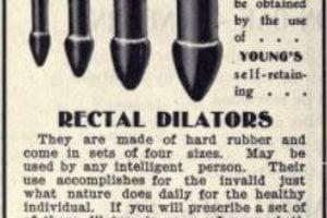 Reklama na análne dilatátory, ktoré mali liečiť hemoroidy.