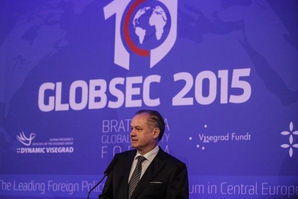 Slovenský prezident Andrej Kiska na konferencii Globsec 2015.