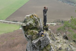 Dominik Sabol v akcii, vysoko nad dolinou Hornádu pri Veľkej Lodine.