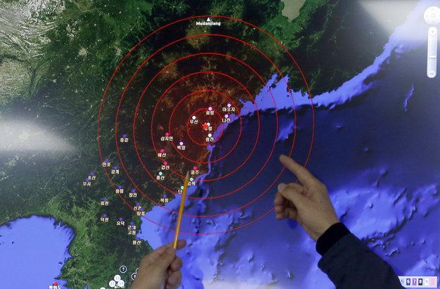 Pohľad na epicentrum otrasov po údajnom teste vodíkovej bomby.