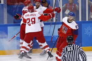 Rusi sa radujú po góle Vladislava Gavrikova.