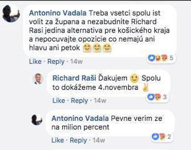 Komunikácia na Rašiho oficiálnom profile. Vadala o košickom primátorovi píše ako o jedinej alternatíve pre Košický kraj.