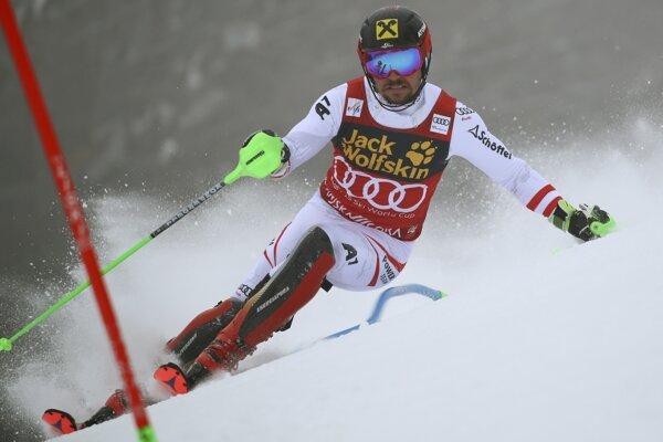 Rakúsky lyžiar Marcel Hirscher na trati 1. kola slalomu Svetového pohára v Kranjskej Gore.