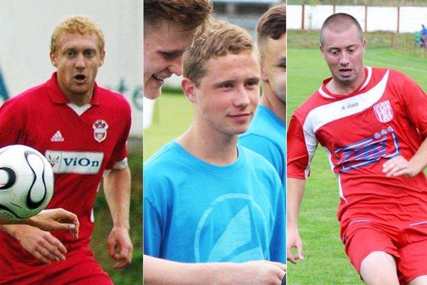 Ondrej Číž (vľavo) sa vrátil zo zahraničia a bude hrať za ViOn B/Volkovce. Bývalý dorastenec FC Nitra Martin Pútec (v strede) je v Močenku. Erik Penzeš  posilnil útočné rady Chrenovej.