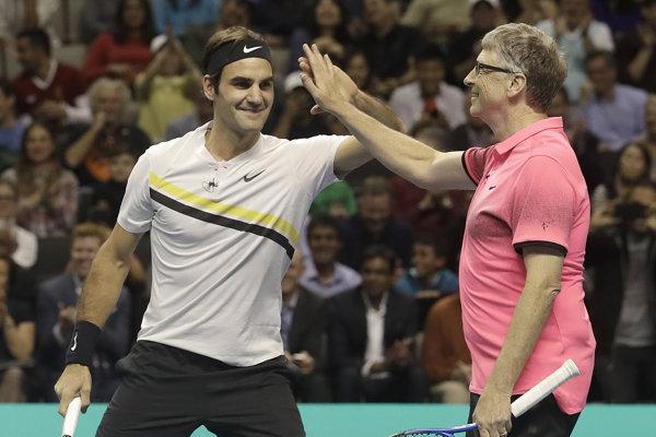 Roger Federer a Bill Gates svoju štvorhru vyhrali.