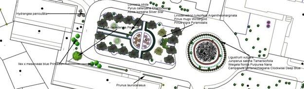 Náhľad nového parku medzi detským a očným oddelením.