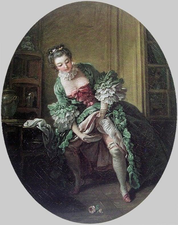 Osemnáste storočie. Žena používa nočník postojačky.