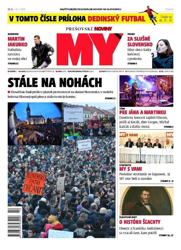Titulná strana týždenníka MY Prešovské noviny č. 10/2018.
