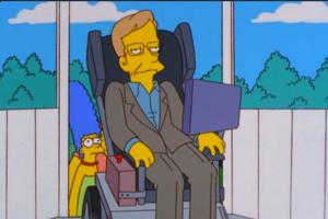 Stephen Hawking v animovanom seriáli Simpsonovci. Epizóda 22, v desiatej sérii.