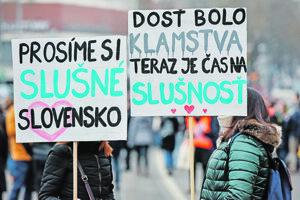 Pochod za slušné Slovensko.
