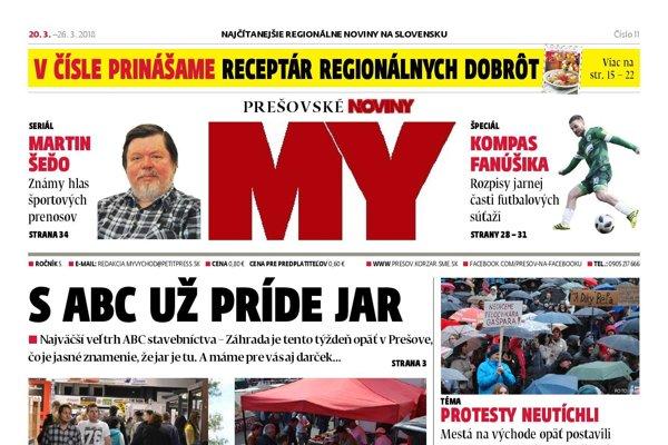 Titulná strana týždenníka MY Prešovské noviny č. 11/2018.