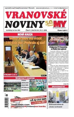 Titulná strana Vranovských novín č. 10/2018.
