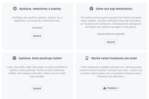 V položke Aplikácie, webstránky a doplnky môžete vypnúť prístup k vášmu kontu na Facebooku. V položke Aplikácie, ktoré používajú ostatní môžete spravovať vaše údaje, ktoré zdieľajú vaši priatelia.