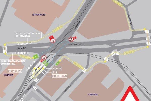 Dočasné obmedzenia pre chodcov a cestujúcich MHD.