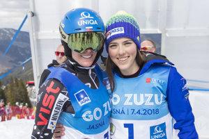 Slovenská lyžiarka Veronika Velez - Zuzulová (vľavo) pózuje s Petrou Vlhovou počas jej rozlúčky s kariérou.
