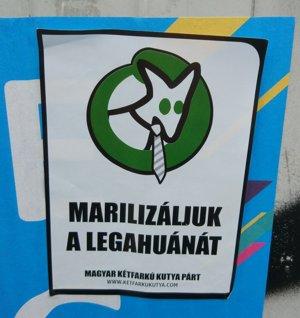 Marilizácia legahuany, hlási predvolebná kampaň satirického hnutia.