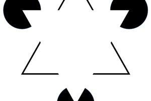 Kanizsov trojuholník. Tri čierne kruhy s výrezom a tri ostré striešky vytvárajú dojem veľkého bieleho trojuholníka. Klam ukazuje, ako náš mozog vypĺňa chýbajúci priestor a vidí veci, ktoré tam nie sú.