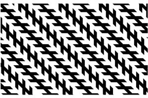 Zöllneova ilúzia. Zdá sa, že v skutočnosti rovnobežné diagonálne čiary zbiehajú k sebe. Klam spôsobujú malé čiarky smerujúce k sebe.