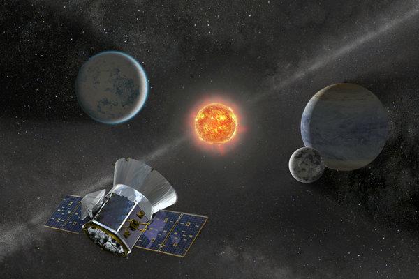 Vizualizácia satelitu pre výskum exoplanét (TESS). Preskúma 200-tisíc najjasnejších hviezd v blízkosti Slnka.
