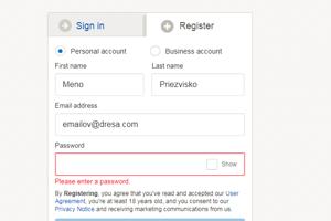 Na novej stránke vyplňte svoje údaje a silné heslo. Napíšte reálne meno aj priezvisko, použijú sa pri adrese doručenia.