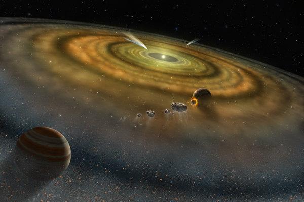 Umelecké zobrazenie novovytvoreného planetárnej sústavy. Asteroid s diamantami  mohol pochádzať z raného obdobia Slnečnej sústavy.