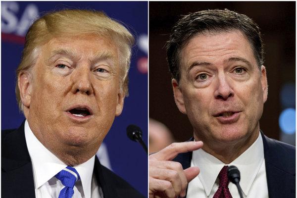 Na snímke sú americký prezident Donald Trump (vľavo) a bývalý riaditeľ amerického Federálneho úradu pre vyšetrovanie (FBI) James Comey.