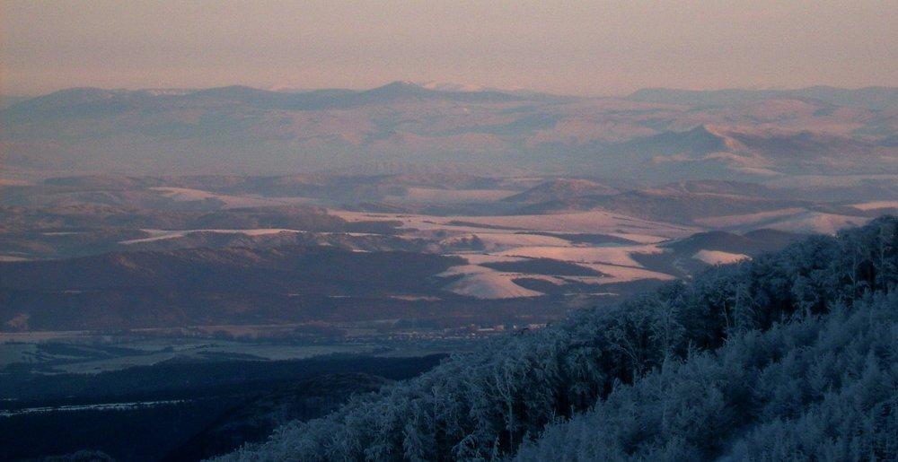 Detail na ukrajinské hory z Čiernej hory.