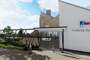 Naprojektovaný vstup uľahčí prístup do obecnej budovy imobilným návštevníkom.