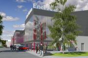 V Liptovskom Mikuláši bude po rekonštrukcii moderné športovisko. Severný pohľad na budovu od JL Arény.