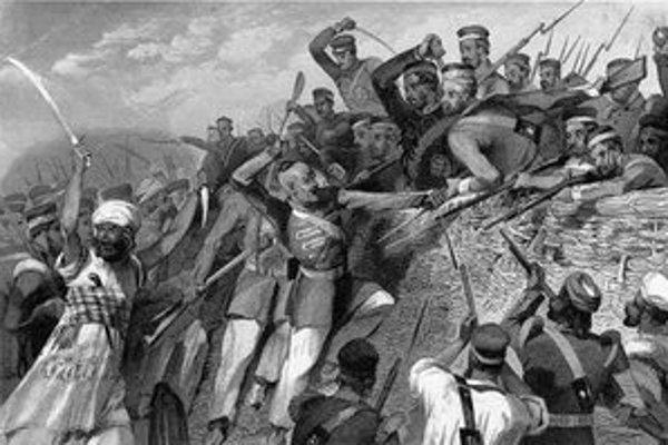 Útok indických povstalcov na britské opevnenie.