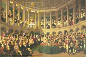 Zasadnutie írskeho parlamentu v 18. storočí.