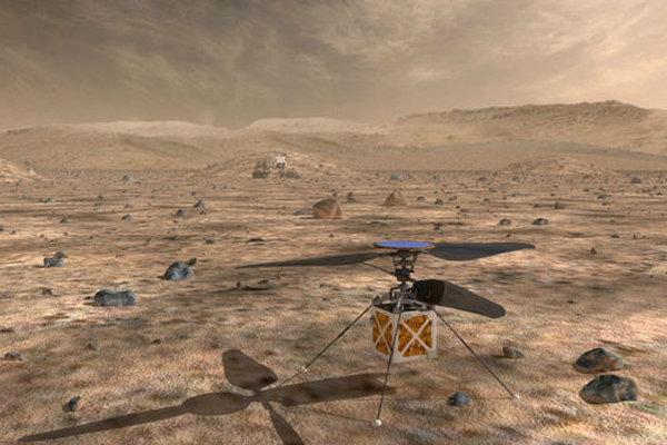 Počítačové zobrazenie helikoptéry na povrchu Marsu.