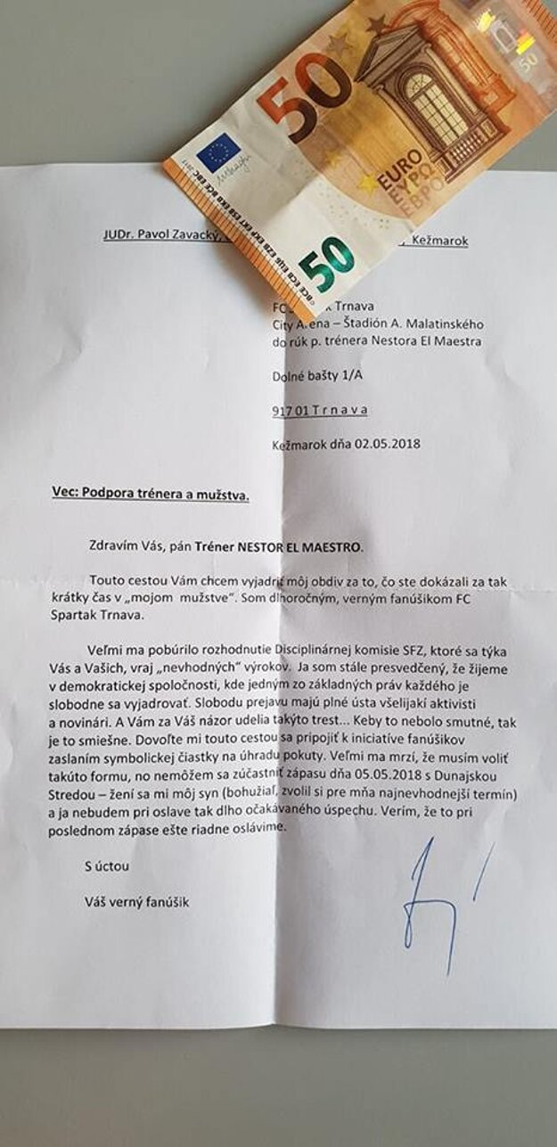 Fanúšik Pavol z Kežmarku prispel sumou 50 eur.