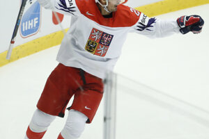 Český hokejista Michal Řepík  sa raduje z úvodného gólu.
