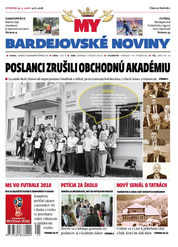 Titulka MY Bardejovské noviny č.21