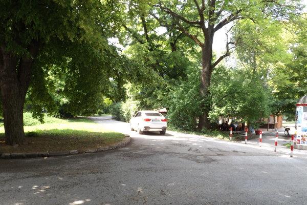 Autá po tejto ceste jazdia hlbšie do parku, kde sú reštaurácie.