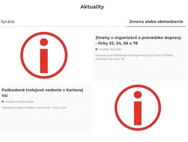 Aj posledné aktuality na stránke Bratislavského dopravného podniku na druhý deň po záplavách silné dažde ignorovali.