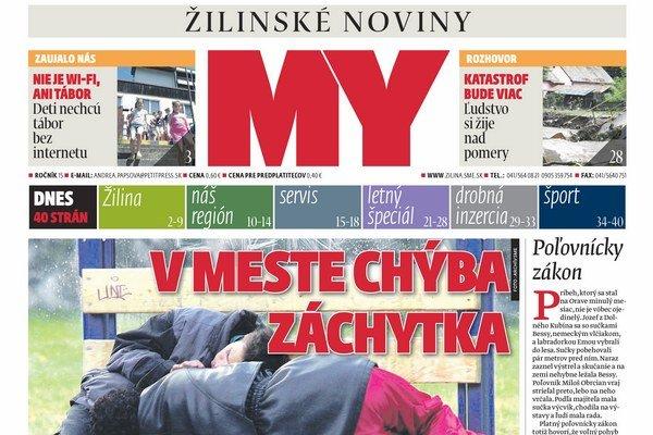 Titulka nového čísla týždenníka MY Žilinské noviny.