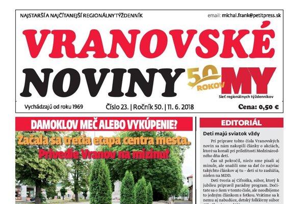 Titulná strana týždenníka Vranovské noviny č. 23/2018.