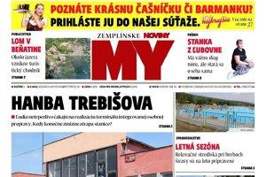 Titulná strana týždenníka MY Zemplínske noviny č. 23/2018.