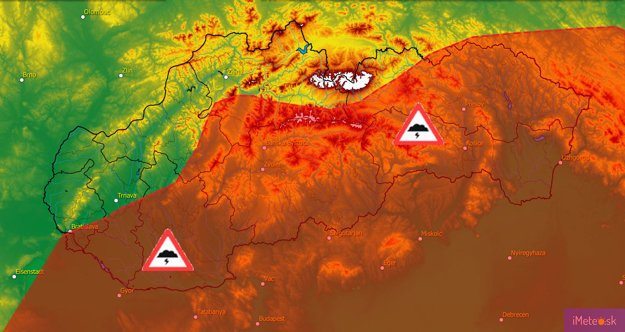 Oblasti a predpokladaný čas výskytu búrok 13.6.2018.